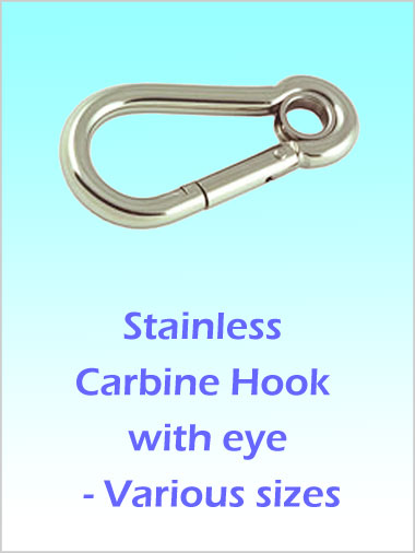 Stainless Steel Carbine Hook / Carabiner with eye 100mm